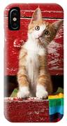Orange Tabby Kitten In Red Drawer  IPhone Case