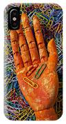 Orange Wooden Hand Holding Paperclips IPhone Case