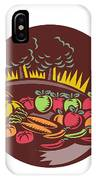 Orchard Crop Harvest Circle Woodcut IPhone Case