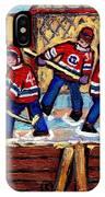Pointe St Charles Hockey Rink Painting Leafs Vs Habs Quebec Winter Scene Hockey Art Carole Spandau IPhone Case