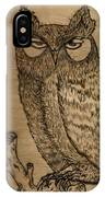Owl Pyrography IPhone Case