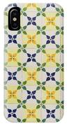 Painted Patterns - Floral Azulejo Tiles In Blue Green And Yellow IPhone Case