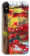 Painterly Rendition Of Red Leaves And Tree Trunk In Autumn IPhone Case