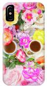 Painterly Tea Party With Fresh Garden Roses II IPhone Case