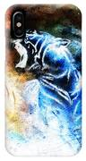 Painting Abstract Tiger Collage On Color Space Background Wildlife Animals. IPhone Case