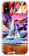 Painting Of Boats In Red Sunset Colors IPhone Case