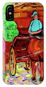 Paintings Of Montreal Streets Old Montreal With Flower Cart And Caleche By Artist Carole Spandau IPhone Case