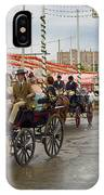 Parade Of Horse Drawn Carriages On Antonio Bienvenida Street Wit IPhone Case