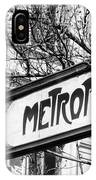 Paris Metro Sign Bw IPhone Case