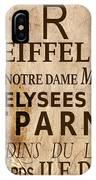 Paris Vintage Poster IPhone Case by Delphimages Photo Creations