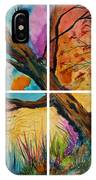 Patchwork Sky Tree Painting With Colorful Sky IPhone Case