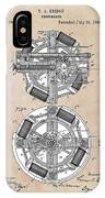 patent art Edison 1888 Phonograph IPhone Case