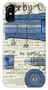 Patent, Old Pen Patent,blue Art Drawing On Vintage Newspaper IPhone Case