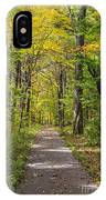 Path In The Woods During Fall Leaf Season IPhone Case
