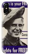 Patriotic World War 2 Poster Us Allies Canada IPhone Case