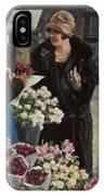 Paul Fischer, 1860-1934, Flower Market In Copenhagen IPhone Case