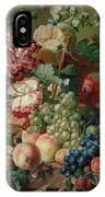 Paulus Theodorus Van Brussel - Still Life Of Flowers And Fruit On A Stone Ledge, IPhone Case