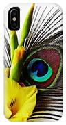 Peacock Feather And Gladiola 3 IPhone Case