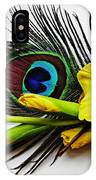 Peacock Feather And Gladiola 4 IPhone Case