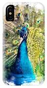 Peacock Watercolor Painting IPhone Case