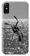 Pelicans Flying By - Black And White IPhone Case