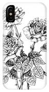 Pen And Ink Roses IPhone Case