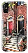 Philadelphia Pa - Townhouse With Red Geraniums IPhone Case