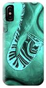Piano Keys In A  Saxophone Teal Music In Motion IPhone Case
