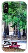 Picnic Area With Wooden Tables 3 IPhone Case