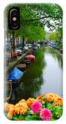 Picturesque View Amsterdam Holland Canal Flowers IPhone Case