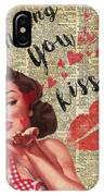 Pin-up Girl Sending Kisses Vinatage Book Page Collage IPhone Case