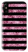 Pink And Black Glitter Sequin Stripes IPhone Case