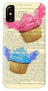Pink And Blue Cupcakes Vintage Dictionary Art IPhone Case