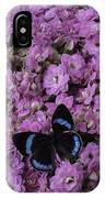 Pink Kalanchoe And Black Butterfly IPhone Case