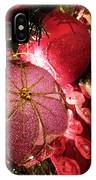 Pink Ornaments Holiday Card IPhone Case