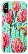 Pink Tulip, Turquoise IPhone Case