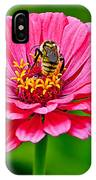 Pink Zinnia Bee IPhone Case