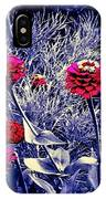 Pink Zinnia's Against A Silver Background IPhone Case