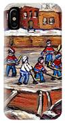 Playoff Time At The Local Hockey Rink Montreal Winter Scenes Paintings Best Canadian Art C Spandau IPhone Case
