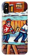 Outdoor Hockey Rink Painting  Devils Vs Rangers Sticks And Jerseys Row House In Winter C Spandau IPhone Case