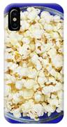 Popcorn In Glass Bowl On Blue Background IPhone Case