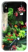 Porch With Geraniums And American Flags IPhone Case
