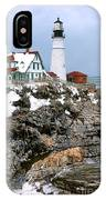 Portland Head Light In Winter IPhone Case