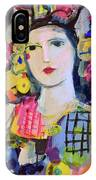 Portrait Of Woman With Flowers IPhone X Case