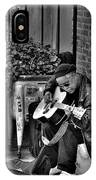 Post Alley Musician In Black And White IPhone Case
