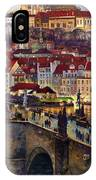 Prague Charles Bridge With The Prague Castle IPhone Case
