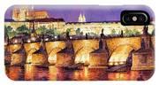 Prague Night Panorama Charles Bridge  IPhone Case