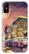 Prague  Night Tram National Theatre IPhone Case