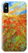 Prairie Sunrise - Poppies Art IPhone Case by Lourry Legarde