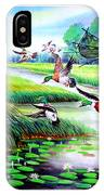 Artistic Painting Photo Flying Bird Handmade Painted Village Art Photo IPhone Case